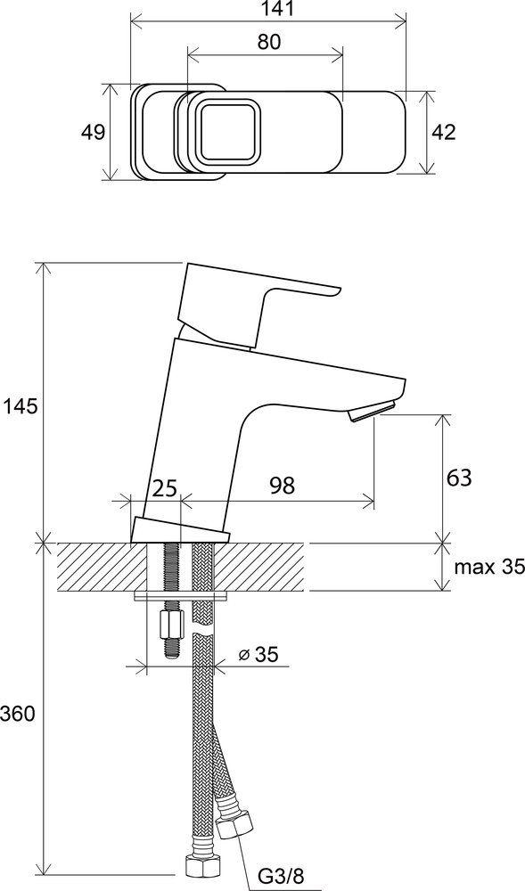 RAVAK TD 012.00 / 10° álló mosdócsaptelep leeresztő nélkül, 140 mm / X070064