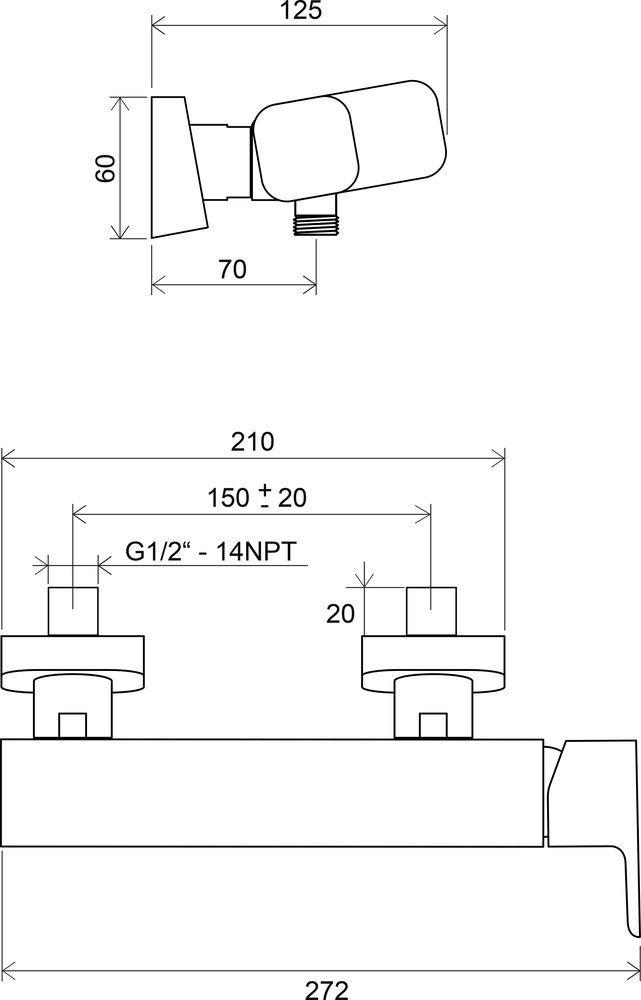 RAVAK TD 032.00/150 / 10° zuhanycsaptelep, lefolyó nélkül / X070066