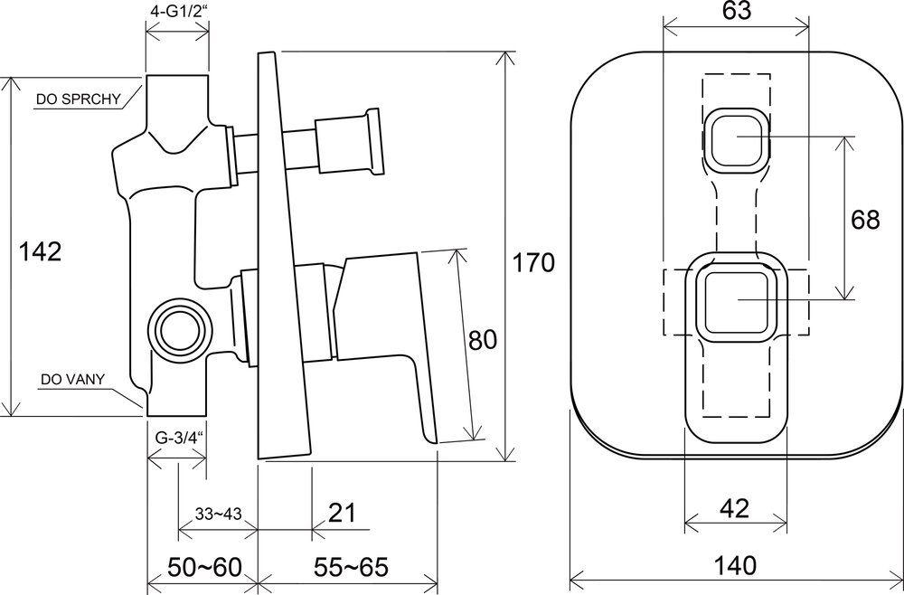 RAVAK TD 061.00 / 10° falba süllyesztett csaptelep váltóval, belső egységgel / X070068