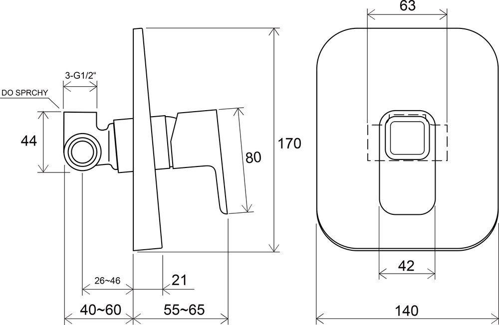 RAVAK TD 062.00 / 10° falba süllyesztett csaptelep váltó nélkül, belső egységgel / X070069