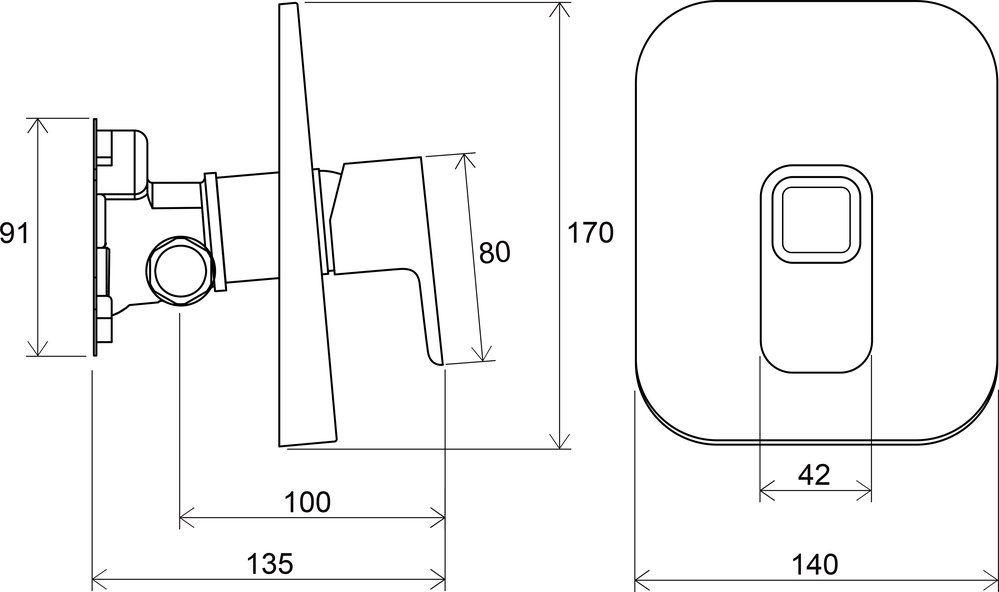 RAVAK TD 066.00 / 10° falba süllyesztett csaptelep váltó nélkül, R-boxhoz / X070071