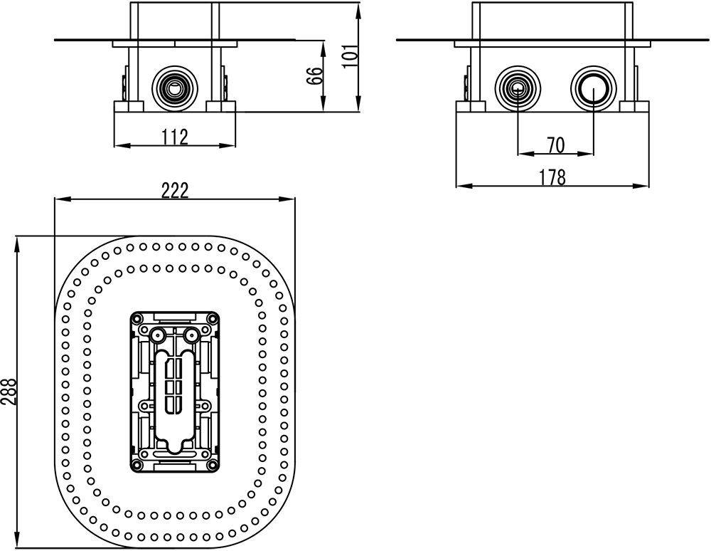 RAVAK, R-BOX multi, Alaptest falsík alatti csaptelepekhez, RB 071.50 / X070074