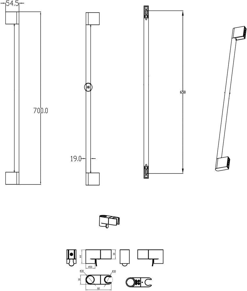 RAVAK, Flexibilisen állítható Chrome zuhanytartó rúd - 70 cm 974.00, kiegészítő/ X07P013