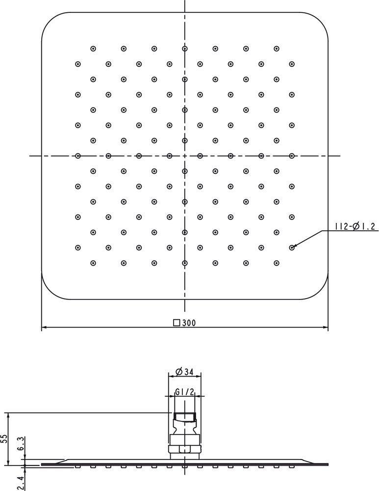 RAVAK 982.00 Esőztető zuhanyfej, Chrome - Slim, négyzetalapú, 300 mm, Cikkszám: X07P016