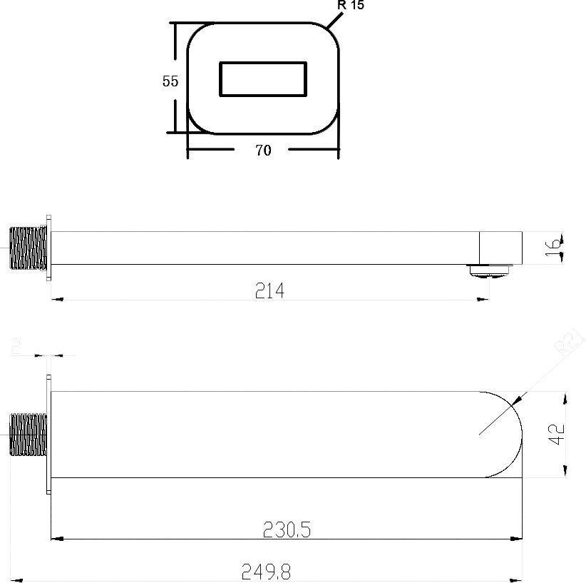 RAVAK, Vízfeltöltő falikar mosdóhoz/kádhoz - CHROME CR 027.00, kiegészítő/ X07P113