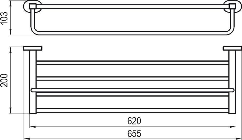 RAVAK Chrome Polcos törölközőtartó 66 cm CR 330, cikkszám: X07P194
