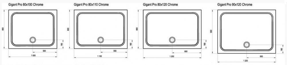 RAVAK GALAXY Gigant Pro CHROME 110 x 80 cm-es szögletes / téglalap alakú zuhanytálca öntött műmárványból / csúszásmentes / extra alacsony kivitel / fehér / XA04D401010