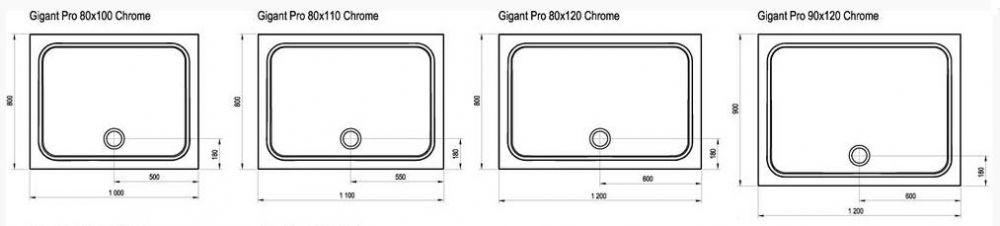 RAVAK GALAXY Gigant Pro CHROME 120 x 80 cm-es szögletes / téglalap alakú zuhanytálca öntött műmárványból / csúszásmentes / extra alacsony kivitel / fehér / XA04G401010