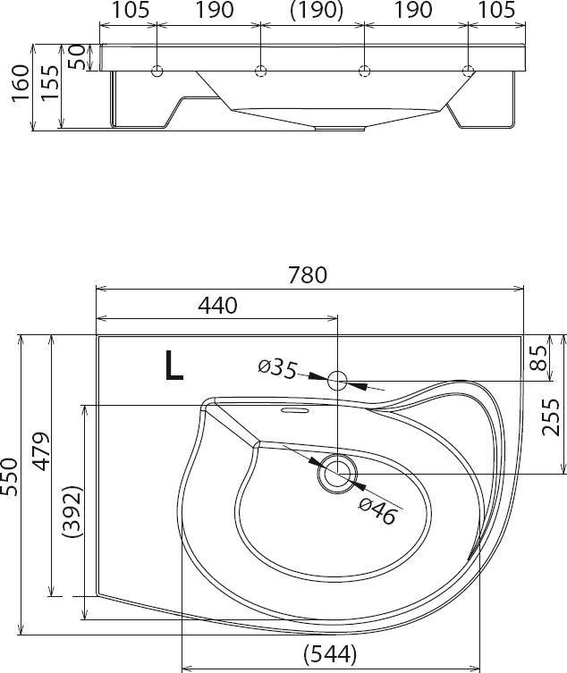 RAVAK Rosa Comfort beépíthető mosdó, 78x55 cm jobbos / jobb / fehér XJ8P11N0000