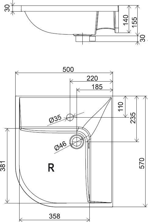 RAVAK BeHappy mosdó jobbos / jobb, fehér, furattal, 50 x 57 cm, XJAP1100000