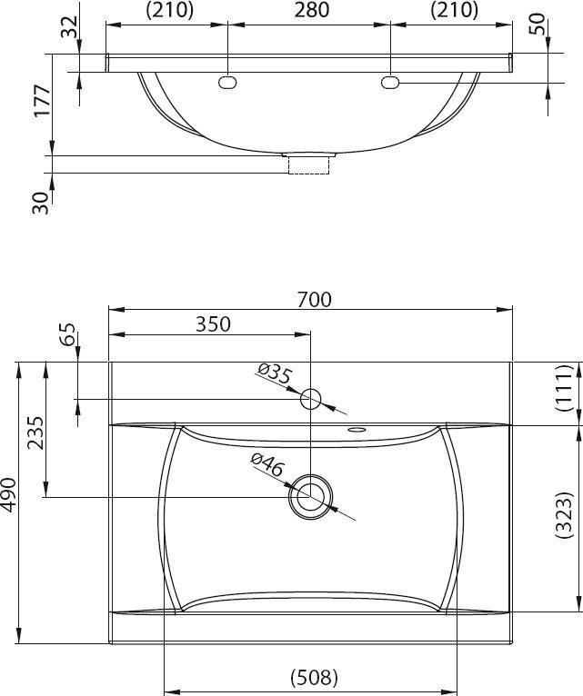 RAVAK Classic 700 mosdó, furattal, öntött műmárvány, 70 cm, fehér, cikkszám: XJD01170000