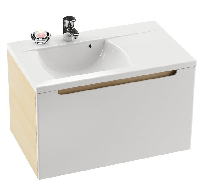 RAVAK Classic 800 mosdó, furattal, öntött műmárvány, fehér, jobbos / jobb, 80 cm, cikkszám: XJDP1180000
