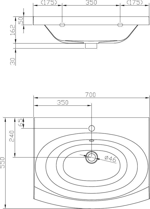 RAVAK Evolution mosdó, furattal, 75x55 cm-es, öntött műmárvány, fehér, cikkszám: XJE01100000