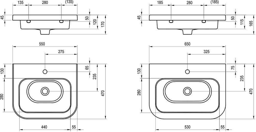 RAVAK Chrome kerámia mosdó 550 - fehér, 55x47 cm-es, cikkszám: XJG01155000