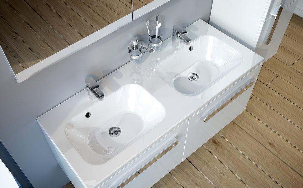 RAVAK Chrome 1200 duplamosdó / dupla mosdó, túlfolyó furat nélkül (!) / rejtett túlfolyóval, 120 x 49 cm, fehér, cikkszám: XJG01212000