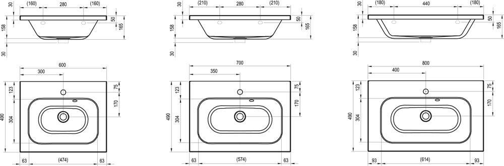 RAVAK Chrome 800 mosdó túlfolyó furat nélkül (!) / rejtett túlfolyóval, 80 x 49 cm, fehér, cikkszám: XJG01280000