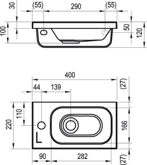 RAVAK Chrome 400 balos, fehér kézmosó, furattal, 40 x 22 cm / 400 x 220 cm-es, XJGL1100000
