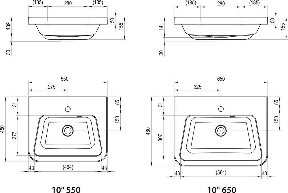 RAVAK Mosdó 10° 650 fehér mosdó, furattal / 10 fok /, 65x48 cm-es / 650 x 480 cm-es, cikkszám: XJI01165000