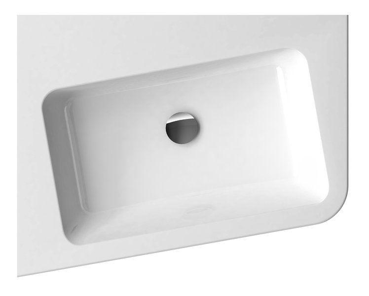 RAVAK 10° 650 L öntött márvány mosdó, furattal / 10 fok / balos / fehér / 65x53,5 cm-es / 650 x 535 cm-es / cikkszám: XJIL1165000