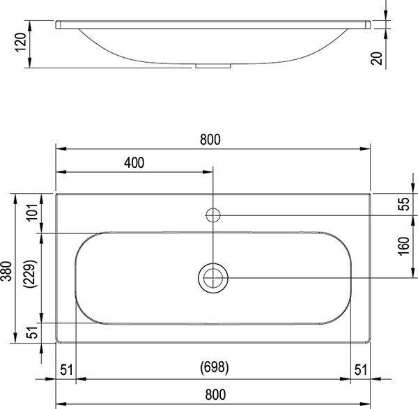 RAVAK Ring 800 mosdó fehér nyílással, 800 x 380 cm-es / XJK01180000