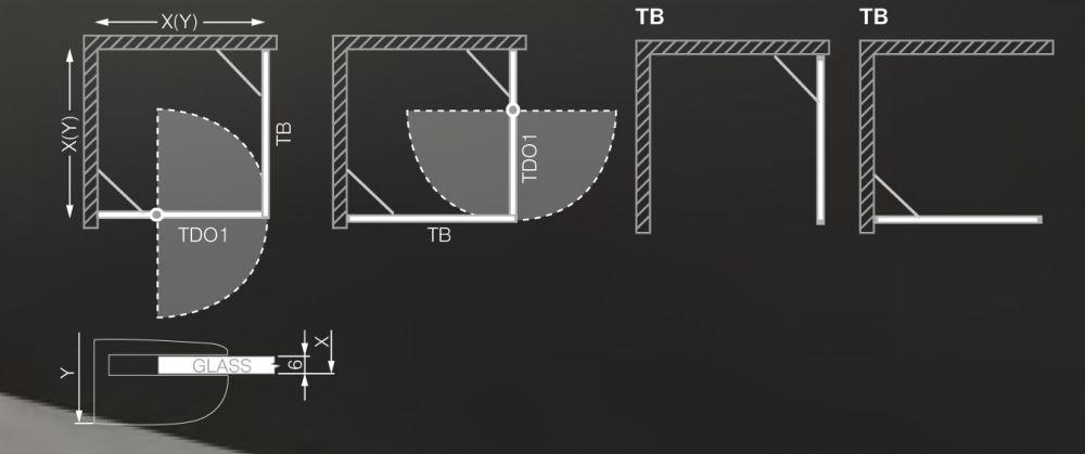 Roltechnik Tower Line TBP/1000 oldalfal, szögletes zuhanykabinhoz / jobbos / 100x200 cm / brillant profillal / intima üveggel 725-100000P-00-20