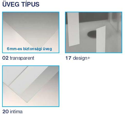 Roltechnik Tower Line TBP/900 oldalfal, szögletes zuhanykabinhoz / jobbos / 90x200 cm / ezüst profillal / intima üveggel 725-900000P-01-20
