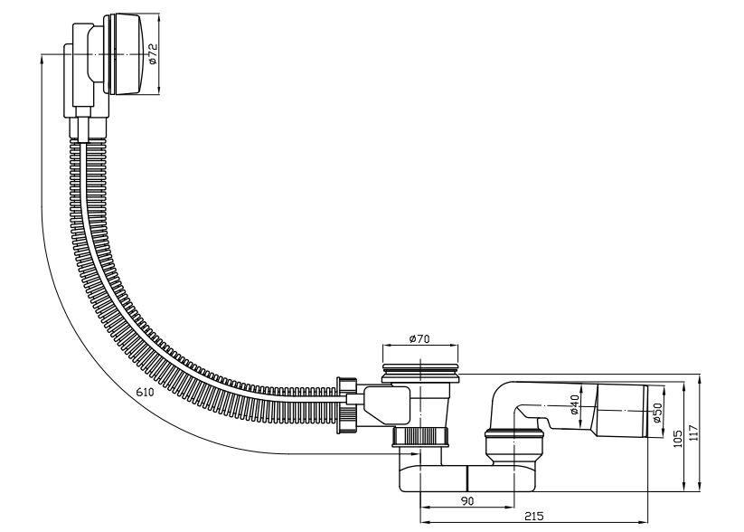 ROLTECHNIK Kádszifon, nagy fém dugóval, biztonsági váltóval, Cikkszám: RKS02