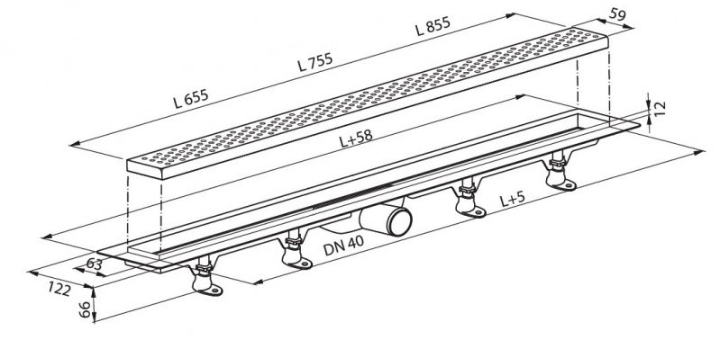 ROLTECHNIK RMF-3 Zuhanyfolyóka rozsdamentes burkolható betéttel RMF-3/900, 900 mm / 90 cm