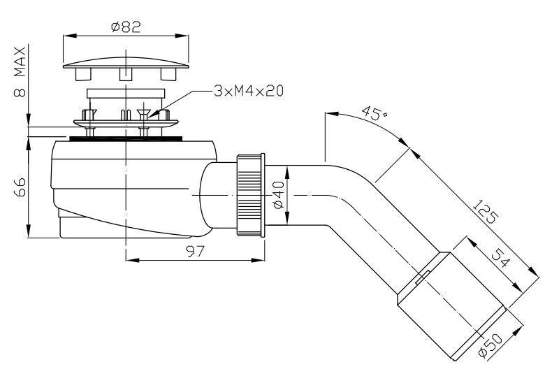 ROLTECHNIK Zuhanytálca szifon 50-es, inox, normál beépítéssel (83 mm magas) Cikkszám: RZS01/50