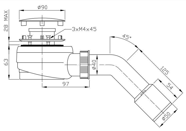 ROLTECHNIK Zuhanytálca szifon 60-as, inox, normál beépítéssel (83 mm magas) Cikkszám: RZS02/60