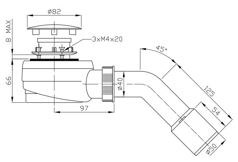 ROLTECHNIK Zuhanytálca szifon 50-es, inox, alacsony beépítéssel (63 mm magas) Cikkszám: RZS05/50