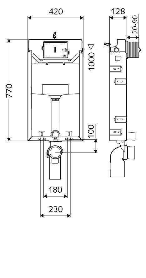 SCHELL Montus C-N 120 beépíthető WC tartály szett téglafalhoz / komplett befalazható wc tartály + Linear Round króm nyomólap
