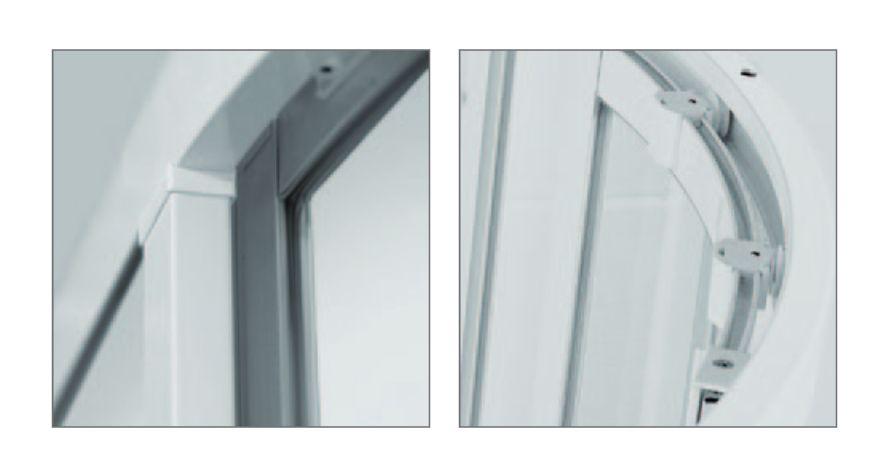 Roltechnik SPCS2/800 négyszögletes, keretes,  műanyag görgős zuhanykabin,  zuhanytálca nélkül / 80x80 / fehér profillal / chinchilla üveggel / cikkszám: 301-8000000-04-03 / Sanipro