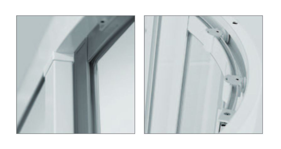 Roltechnik SPCS2/900 négyszögletes, keretes,  műanyag görgős zuhanykabin,  zuhanytálca nélkül / 90x90 / fehér profillal / chinchilla üveggel / cikkszám: 301-9000000-04-03 / Sanipro