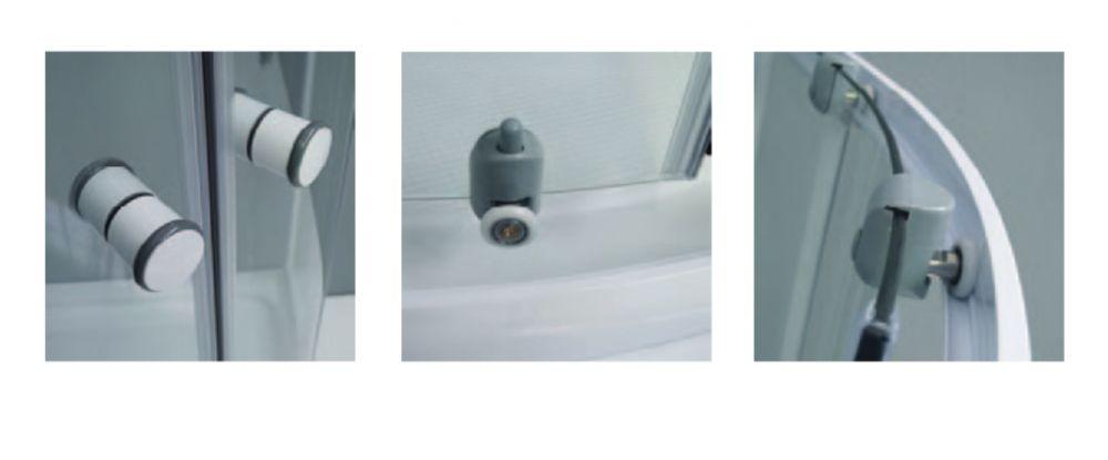 Roltechnik APOLLO SET/900 íves, keretes, görgős  zuhanykabin, önhordó zuhany tálcával és leeresztővel / 90x90 cm / fehér profillal / transparent (átlátszó) üveggel / cikkszám: 4000463, komplett szett