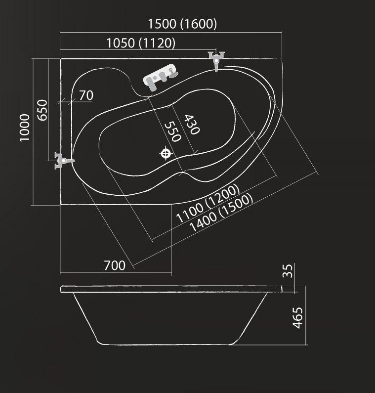 Roltechnik TULLIP 160 L Aszimetrikus akril sarokkád, 160x100 cm-es / Balos / Télrfogat: 210 liter / Cikkszám: 5159000 / Sanipro