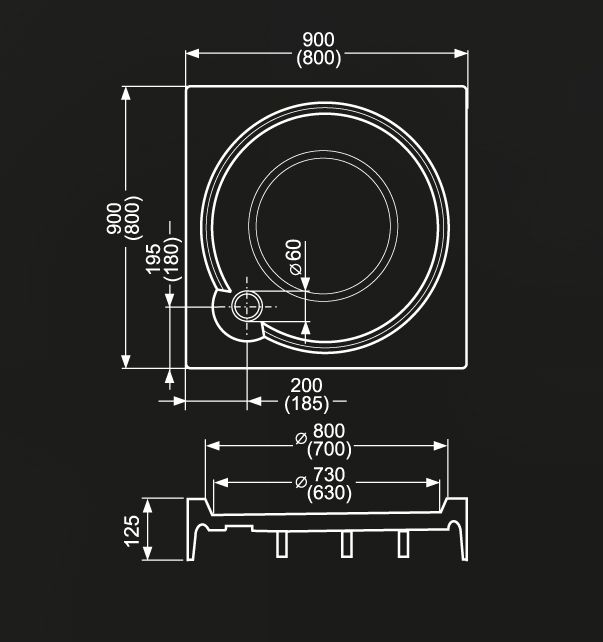 Roltechnik ALOHA-P 800 Szögletes, akril zuhanytálca Greensir merevítéssel / 80×80×12,5 cm-es / cikkszám: 8000148 / Sanipro