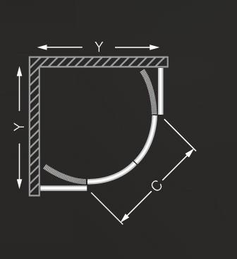 Roltechnik COFE/900 Íves, keretes, görgős 90x90 cm-es zuhanykabin zuhanytálca nélkül / brillant profillal / rauch betéttel / N0651 / Sanipro
