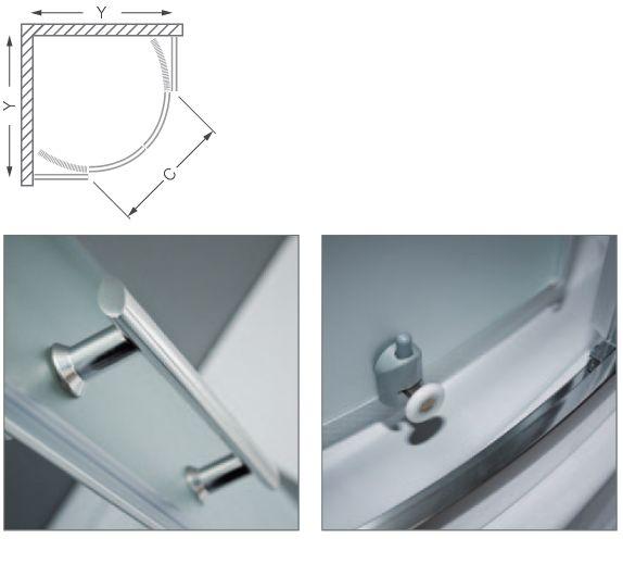 Roltechnik PORTLAND NEO/800 íves, keretes,  görgős zuhanykabin / brillant profillal / matt üveggel / cikkszám: N0656 / Sanipro