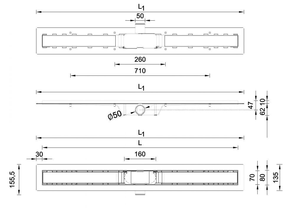 STYRON beltéri zuhanyfolyóka egyenes, rozsdamentes ráccsal, Harmony, 700 mm, STY-H-70, Harmony 700