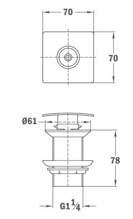 TEKA Quick SQUARE leeresztő szelep, érintéssel vezérelt rugó működés 11.071.00 / 1107100