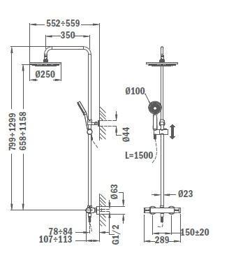 TEKA ALAIOR XL termosztátos zuhany csaptelep, vízkőmentes zuhanyfej Ø 250 mm és kézizuhany, műanyag gégecső 1,5m, állítható zuhanytartó  22.238.02.00 / 222380200