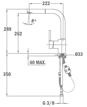 TEKA ARK 938 FM álló mosogató csaptelep, kihúzható zuhanyfejjel, matt króm, 23.938.12.0FM / 23938120FM
