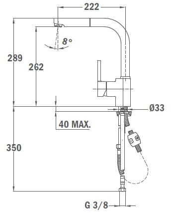 TEKA ARK 938 I inox mosogató csaptelep, kihúzható zuhanyfejjel, króm 23.938.12.0I / 23938120I