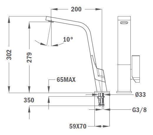TEKA ICON IC 915 CN álló mosogató csaptelep, forgatható kifolyócső, vízkőmentes kifolyócsőbe integrált perlátor, magas ellenállású festett felület, Carbon 33.915.02.0CN / 33915020CN