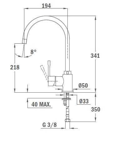 TEKA ALAIOR SP 995 álló mosogató csaptelep, forgatható kifolyócső, vízkőmentes perlátor, magas ellenállóképességű és ujjlenyomatmentes festett felület, Amber 55.995.02.0SB / 55995020SB