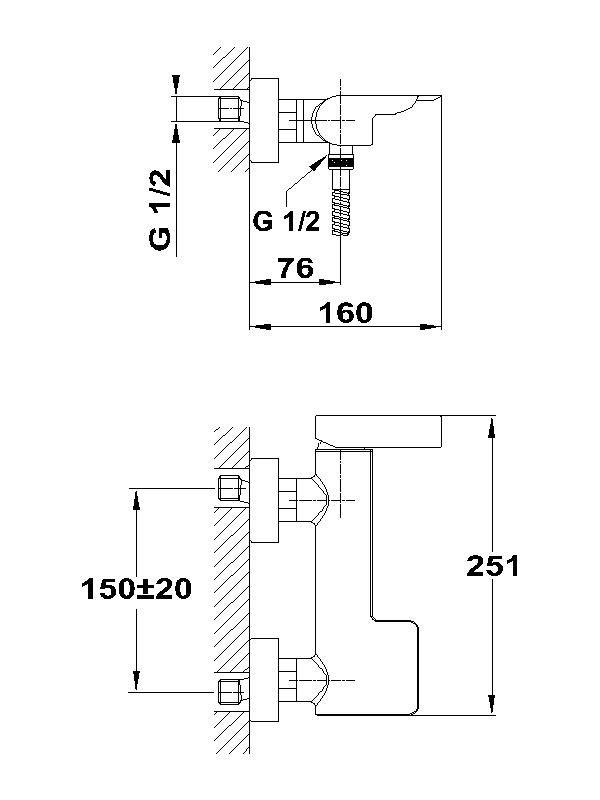 TEKA Formentera zuhany csaptelep, egykaros, zuhanyszett nélkül, zajcsökkentő elemmel, króm  62.231.02.00 / 622310200