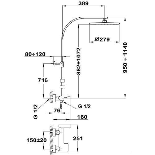 TEKA Formentera zuhanyrendszer egykaros csapteleppel, komplett, szögletes design, vízkőmentes Formentera kézizuhany, XL zuhanyfej 279 x 279mm, megerősített fém gégecső 1,5 m  62.298.02.00 / 622980200