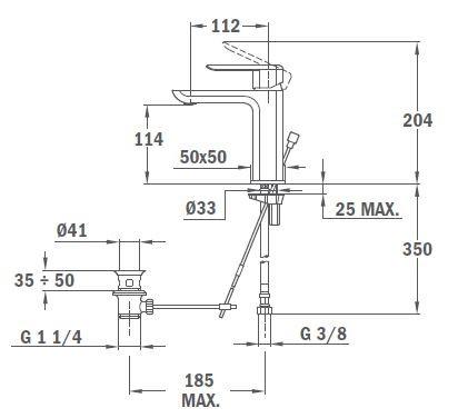 TEKA Formentera mosdó csaptelep, optimalizált vízfogyasztás ECO rendszer, vízkőmentes perlátor, fekete 62.346.12.0NC / 62346120NC