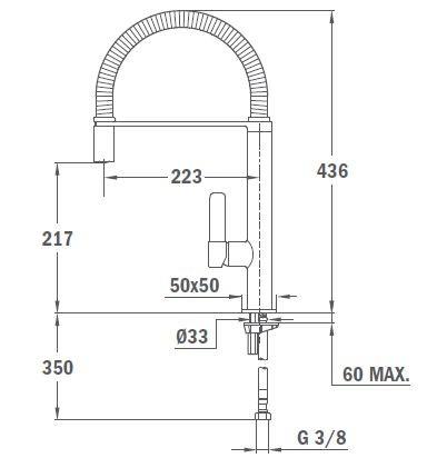 TEKA FO 939 Mosogató csaptelep, forgatható, rozsdamentes acél flexibilis kifolyócső, vízkőmentes perlátor, kihúzható fej / zuhanyfej, króm 62.939.02.00 / 629390200